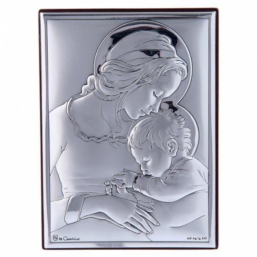 Quadro Maria con Gesù in bilaminato con retro in legno pregiato 12X8 cm s1