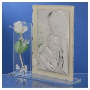 Quadro Maternità vetro Murano rosa bianca 11x17 cm s3