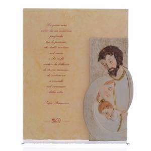 Bomboniere e ricordini: Quadro Matrimonio S. Famiglia stampa Papa Francesco h. 25,5 cm