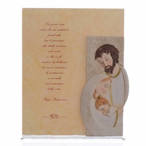 Quadro Matrimonio S. Famiglia stampa Papa Francesco h. 25,5 cm s1