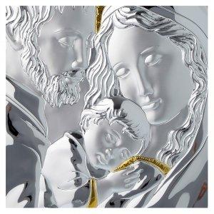 Quadro Sacra Famiglia rettangolare argento tavola bianca s2