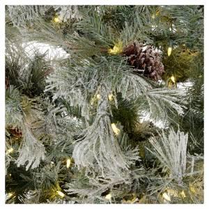 Árbol de Navidad marrón 230 cm escarchado piñas y purpurina 450 luces LED s4