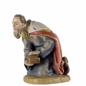 Re Magio in ginocchio 12 cm legno presepe mod. Valgardena s1