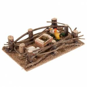 Animales para el pesebre: Recinto aves de corral para belén hecho por ti de 10 cm, medidas: 16 x 10 cm.