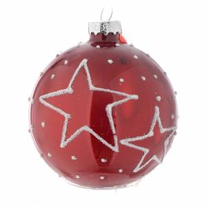 Christmas balls: Red Christmas bauble with decoration, 70mm diameter