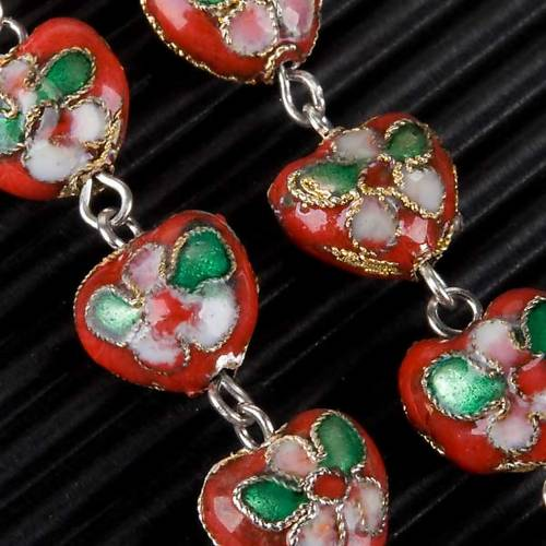 Red cloisonné rosary with heart-shaped beads 5