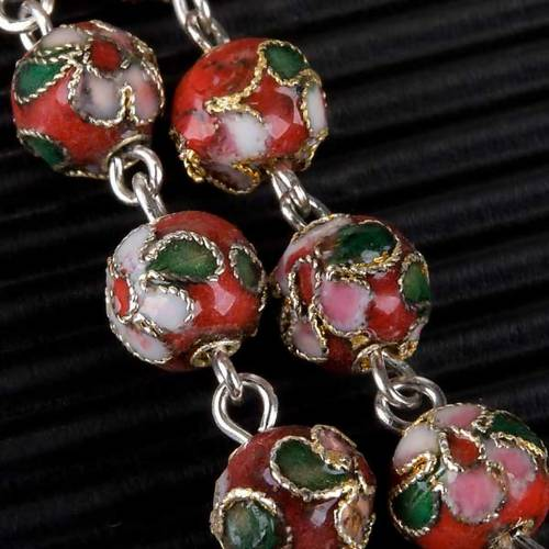 Red cloisonné rosary s5