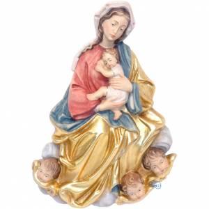 Relief Vierge à l'enfant en style baroque bois pein s1