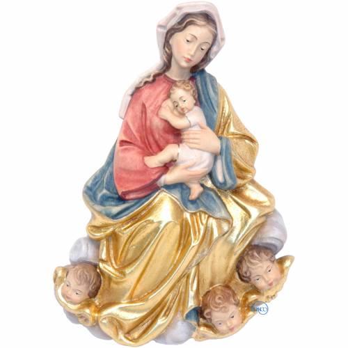 Relieve Virgen y Niño con ángeles 20 cm Valgardena s1