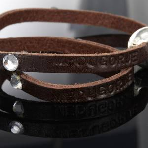 Religious bracelet in leather with sphere and Swarovski s6