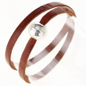 Religious bracelet in leather with zamak sphere lenght 39 cm s10
