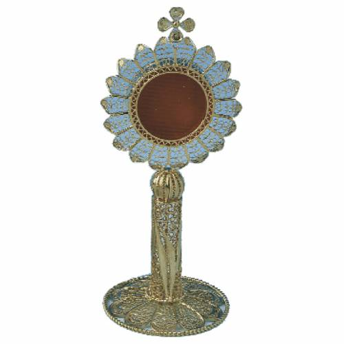 Reliquary in silver 800, golden filigree decoration, 11 cm s1
