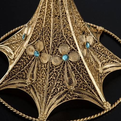 Reliquiario argento 800 filigrana bagno oro 36 cm s9