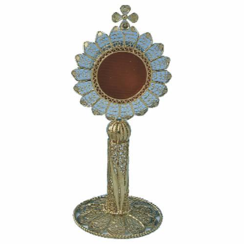 Reliquiario argento 800 filigrana bagno oro h 11 cm s1