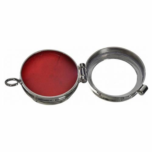 Reliquiario ottone argentato diam. 3,5 cm s2