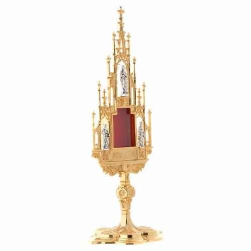 Reliquiario stile gotico ottone fuso h 51 cm s2