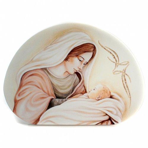 Ricordino Nascita Quadretto Semiovale Maternità 15x21 cm s1