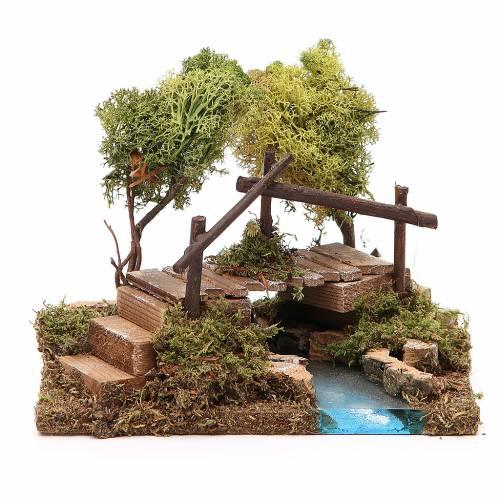 Rivière avec pont et arbres pour crèche s1