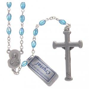 Rosario acqua in cristallo con croce e crociera in metallo ossidato s2