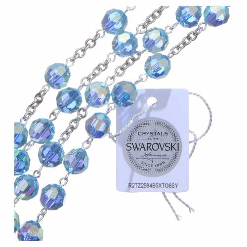 Rosario argento 800 cristallo Swarovski celeste 8 mm s3