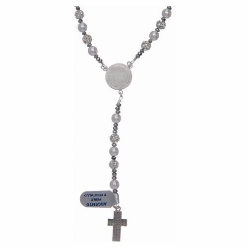 Rosario argento 925 perle e cristallo 6 mm s2
