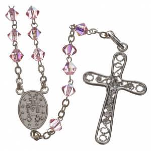 Rosari argento: Rosario Argento Swarovski 5mm rosa