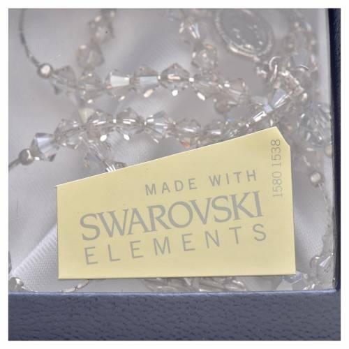 Rosario Argento Swarovski rodiato cristallo 5 mm s5