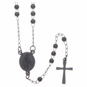 Rosarios metal: Rosario clásico color negro de acero 316L