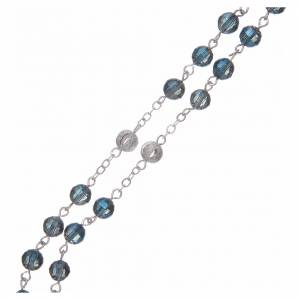 Rosario con grani da 6 mm in Cristallo blu s3