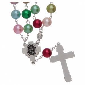 Rosari vetro: Rosario con grani in vetro imitazione perla multicolore