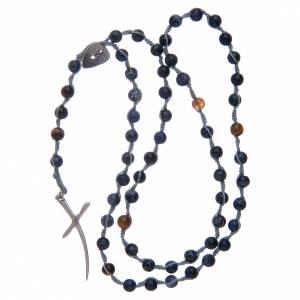 Rosario corona con grani in pietra sodalite e croce s4