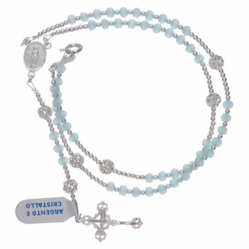 Rosario da collo in cristallo celeste in argento 800 s3