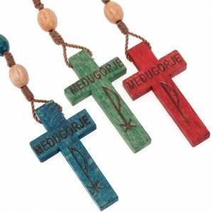 Rosarios Medjugorie: Rosario de madera Medjugorje granos coloreados