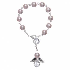 Rosario decena con angelito de vidrio nacarado rosa y cristal s1