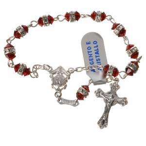 Rosari decina: Rosario decina argento 800 cristallo rosso