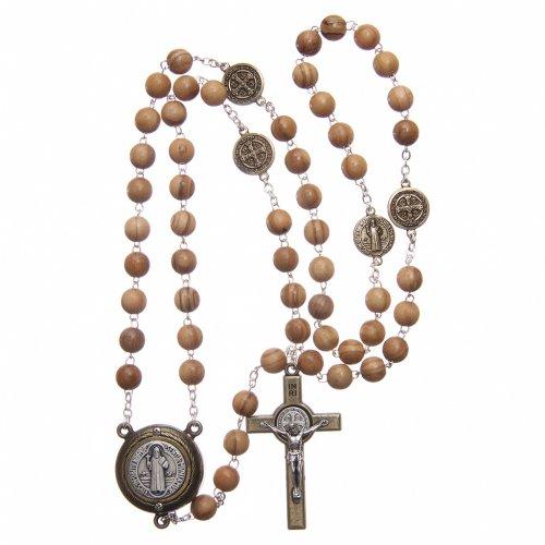 Rosario legno chiaro crociera parlante preghiera S Benedetto ITA 8 mm s4