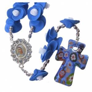 Rosarios y Porta Rosarios Medjugorje: Rosario Medjugorje rosas azul cruz vidrio Murano