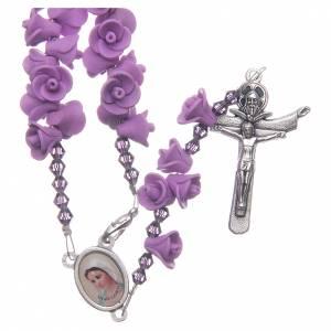 Rosarios y Porta Rosarios Medjugorje: Rosario Medjugorje rosas lilas cruz Jesús Resucitado