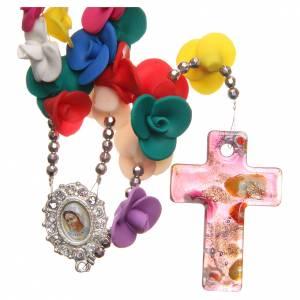 Rosarios y Porta Rosarios Medjugorje: Rosario Medjugorje rosas multicolores cruz vidrio Murano