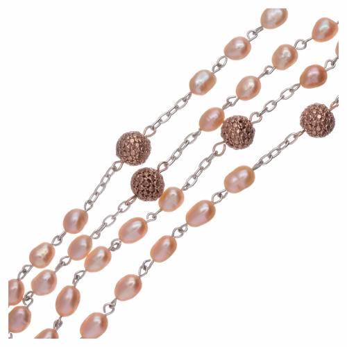 Rosario perle fiume 4 mm ovali con pater argento 925 color rosé s3