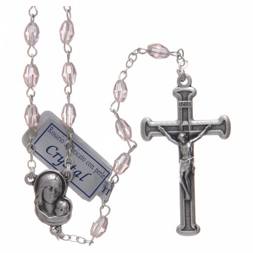 Rosario rosa in cristallo con croce e crociera in metallo ossidato s1