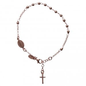 Rosary AMEN Bracelet Charm Cross silver 925, Rosè finish s1