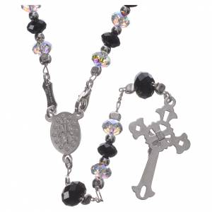 Rosary beads in 800 silver and black and white Swarowski, 6mm s2