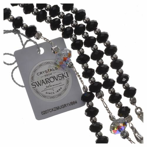 Rosary beads in 800 silver and black Swarowski 6mm and Pater bead 8mm s4