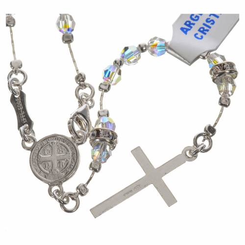 Rosary beads in 800 silver and transparent crystal s2
