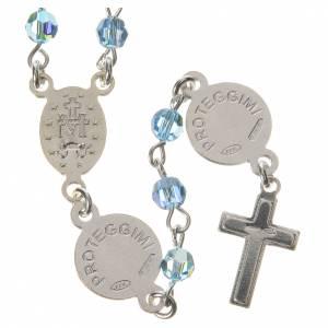Rosary beads in 800 silver light blue Swarovski, Guardian Angel s2