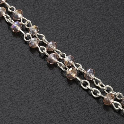 Rosary beads in crystal, 3mm, pink s3