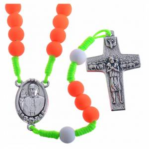 Devotional rosaries: Rosary beads in orange fimo, Pope Francis