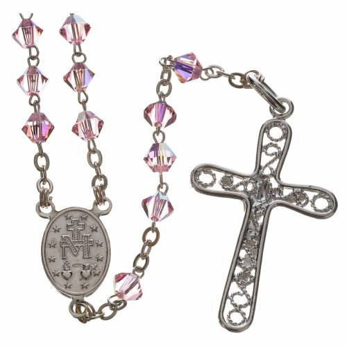 Rosary beads in silver and Swarovski 0,2in pink s2