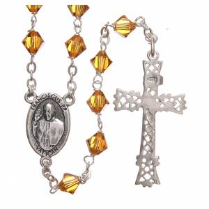 Silver rosaries: STOCK Rosary beads in Swarovski and sterling silver with Jubilee symbol 6mm amber